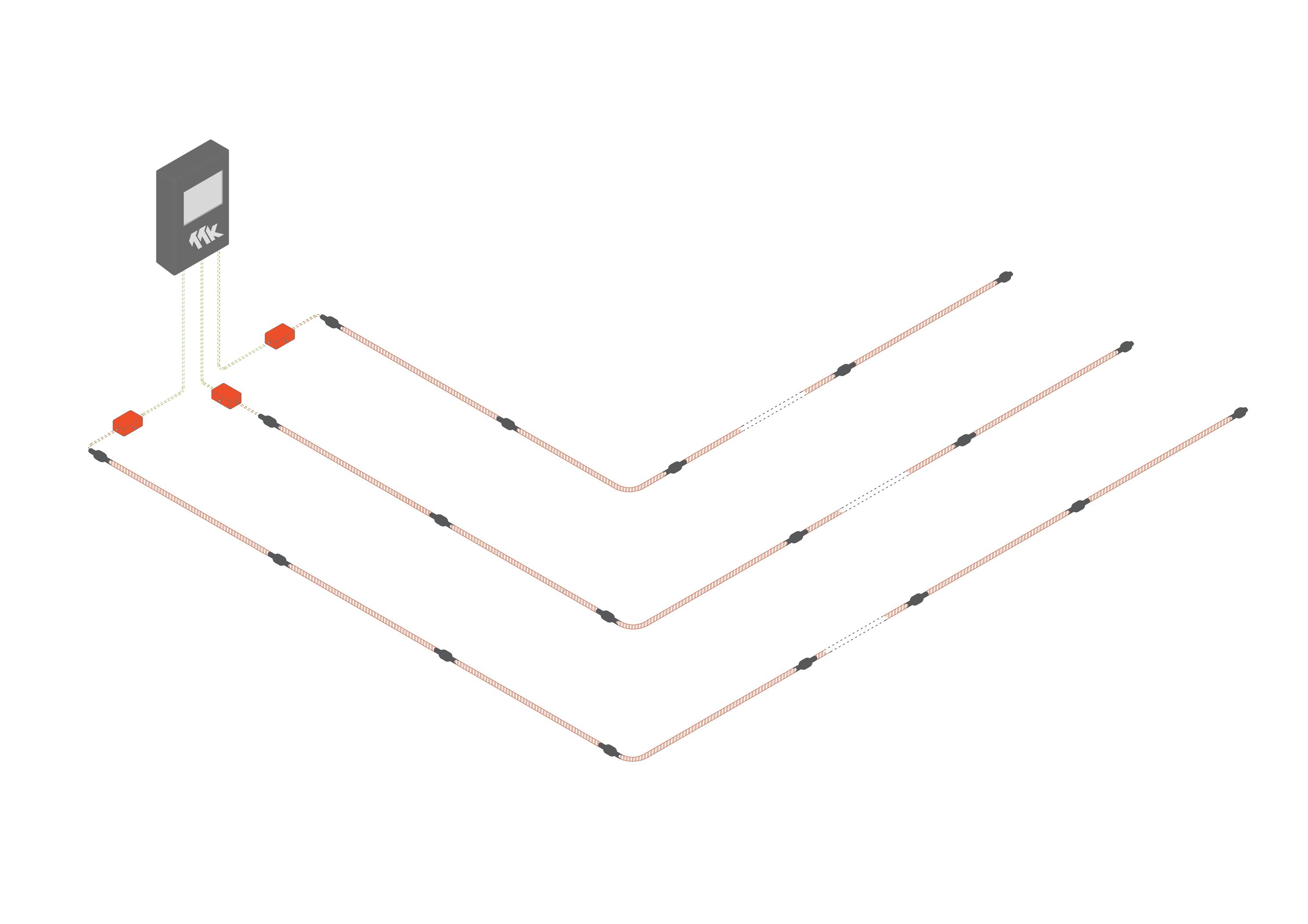 Diagramme - Détection avec localisation de fuites d'hydrocarbures AVEC CENTRALE FG-NET